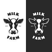 Cow head emblem icontype label. Vector vintage illustration.
