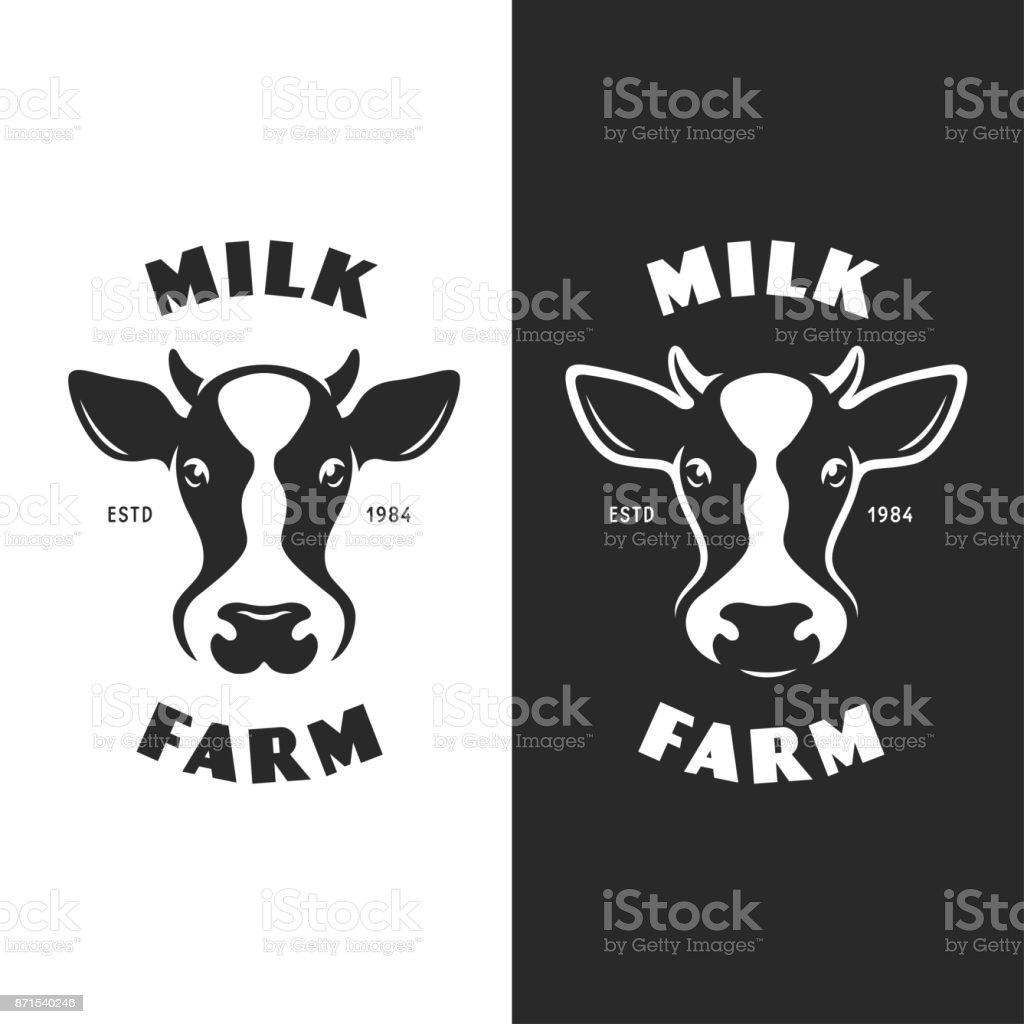 Cow head emblem icontype label. Vector vintage illustration. vector art illustration