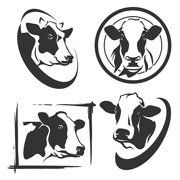 cow head labels set - cow stock illustrations, clip art, cartoons, & icons
