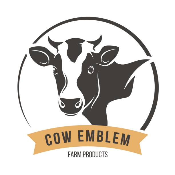 cow head silhouette emblem label. vector illustration. - cow stock illustrations, clip art, cartoons, & icons