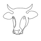 Cow head in line art drawing style. Black line sketch on white background. Vector illustration