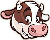 A cartoon head of a cow mascot