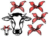 istock Cow head with red bandanas. Vector black graphic illustration isolated on white. Farm animal 1227594689