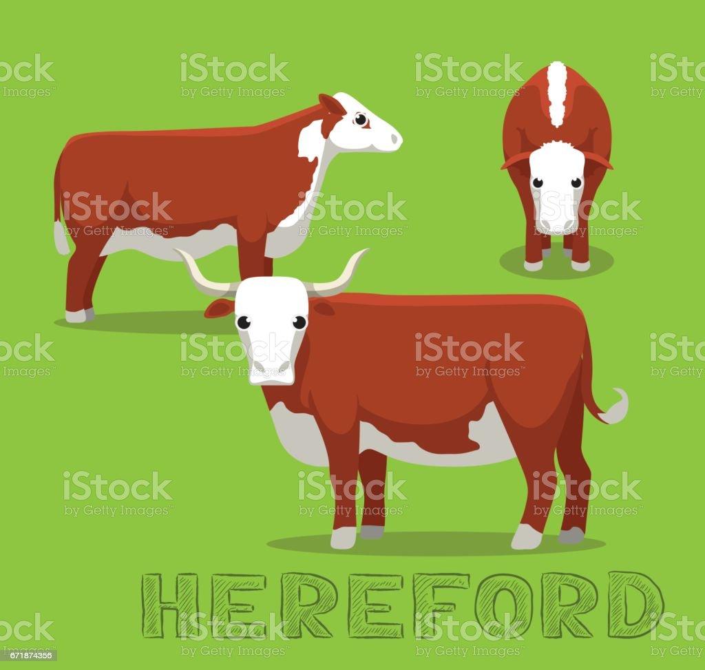 Cow Hereford Cartoon Vector Illustration vector art illustration