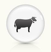 Cow icon on white round vector button