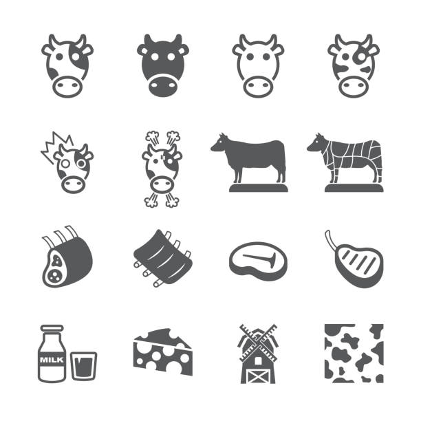 Cow icon set Flat icon set design ,Out line vector icon set for design. female animal stock illustrations