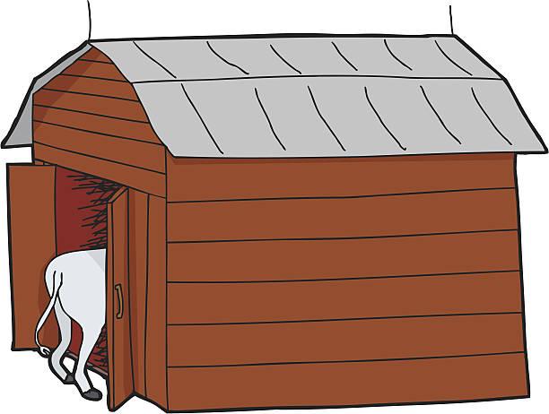 Cow In Small Barn Vector Art Illustration