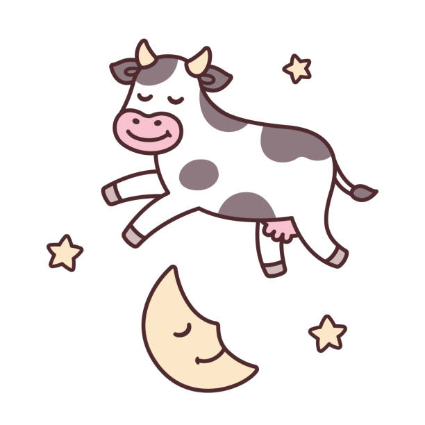 cow jumping over moon - bedtime story stock illustrations