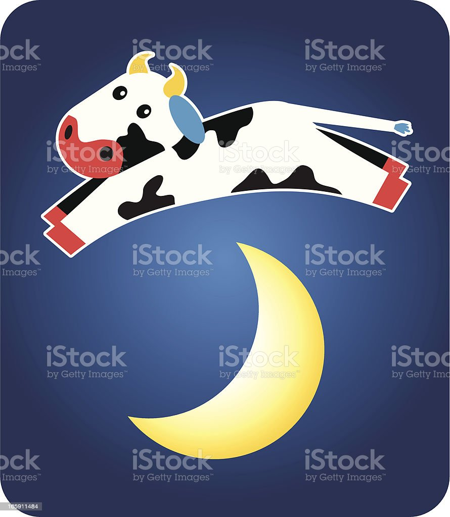 """Cow Jumping Over the Moon Cute little cow jumping over the moon from the famous nursery rhyme """"Hey Diddle, Diddle."""" Additional file types included: PDF, Ai, & SVG. Each element is on it's own layer Animal stock vector"""