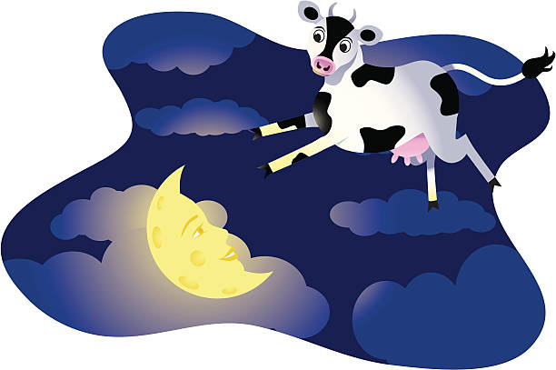 Cow Jumps Over Moon vector art illustration