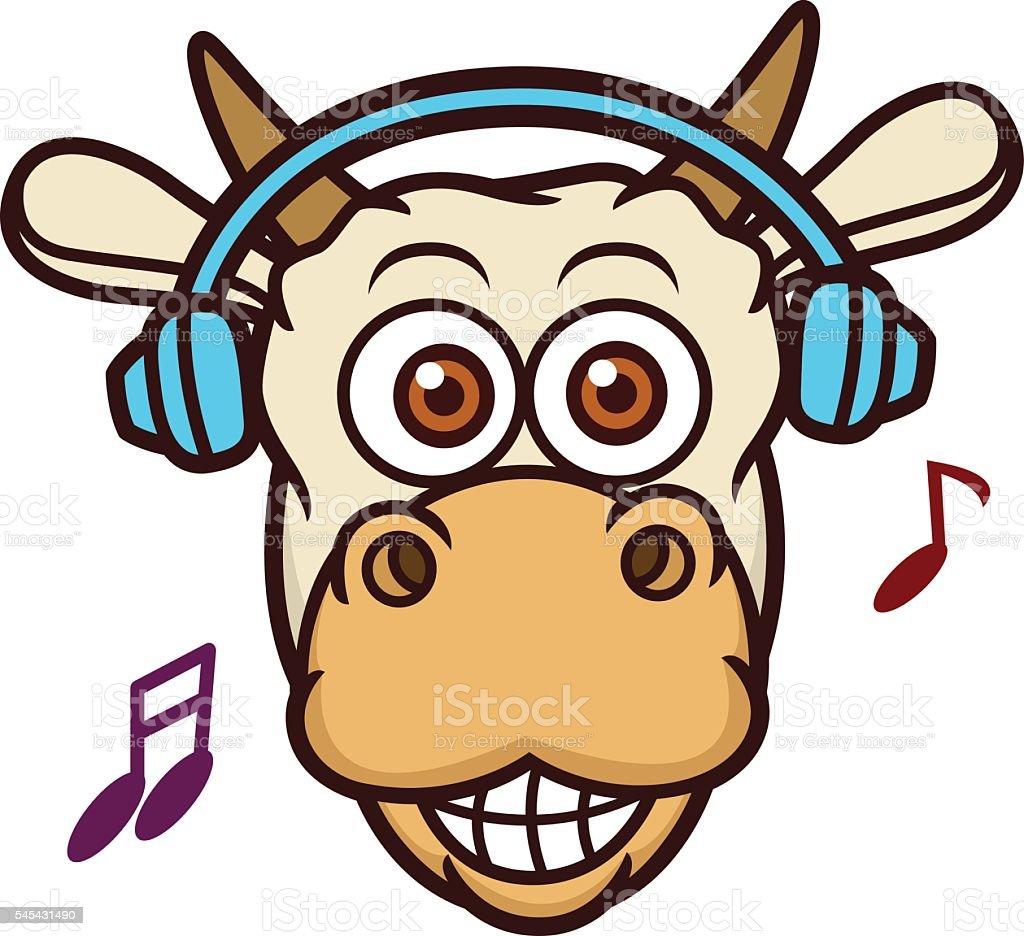 cow listening music with headphone cartoon illustration stock