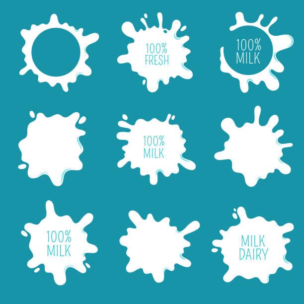 kuhmilch blots, spritzer und tropfen. bauernhof frische milchprodukte vektor labels und logos isoliert - milch stock-grafiken, -clipart, -cartoons und -symbole