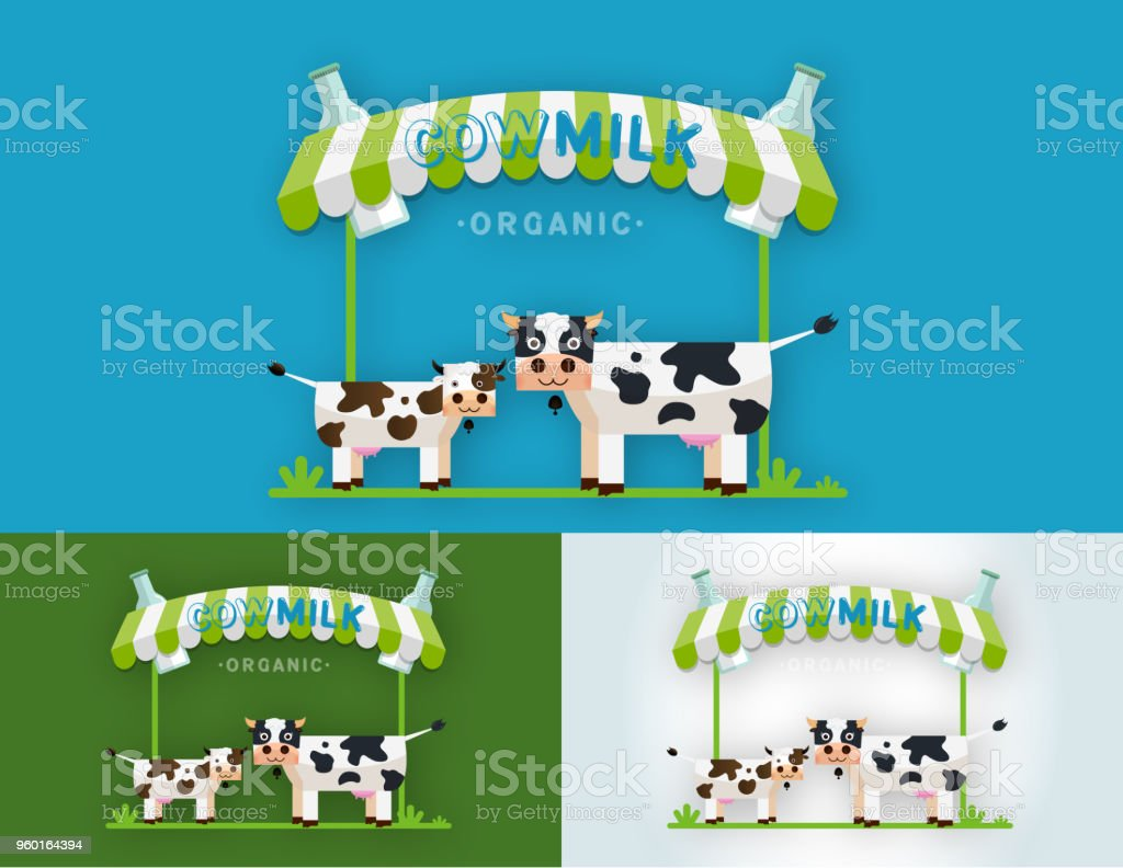 Cow Milk Farm Logo design vector template vector art illustration