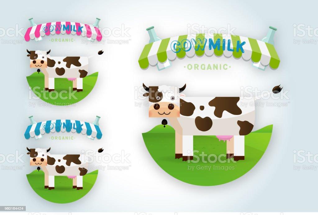 Cow Milk Farm Logo Design Vector Template Royalty Free