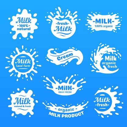 Kuh Milch Spritzt Mit Buchstaben Isolierte Milch Spritzen Für Health Food Store Molkerei Symbolbeschriftung Vektor Stock Vektor Art und mehr Bilder von Abstrakt
