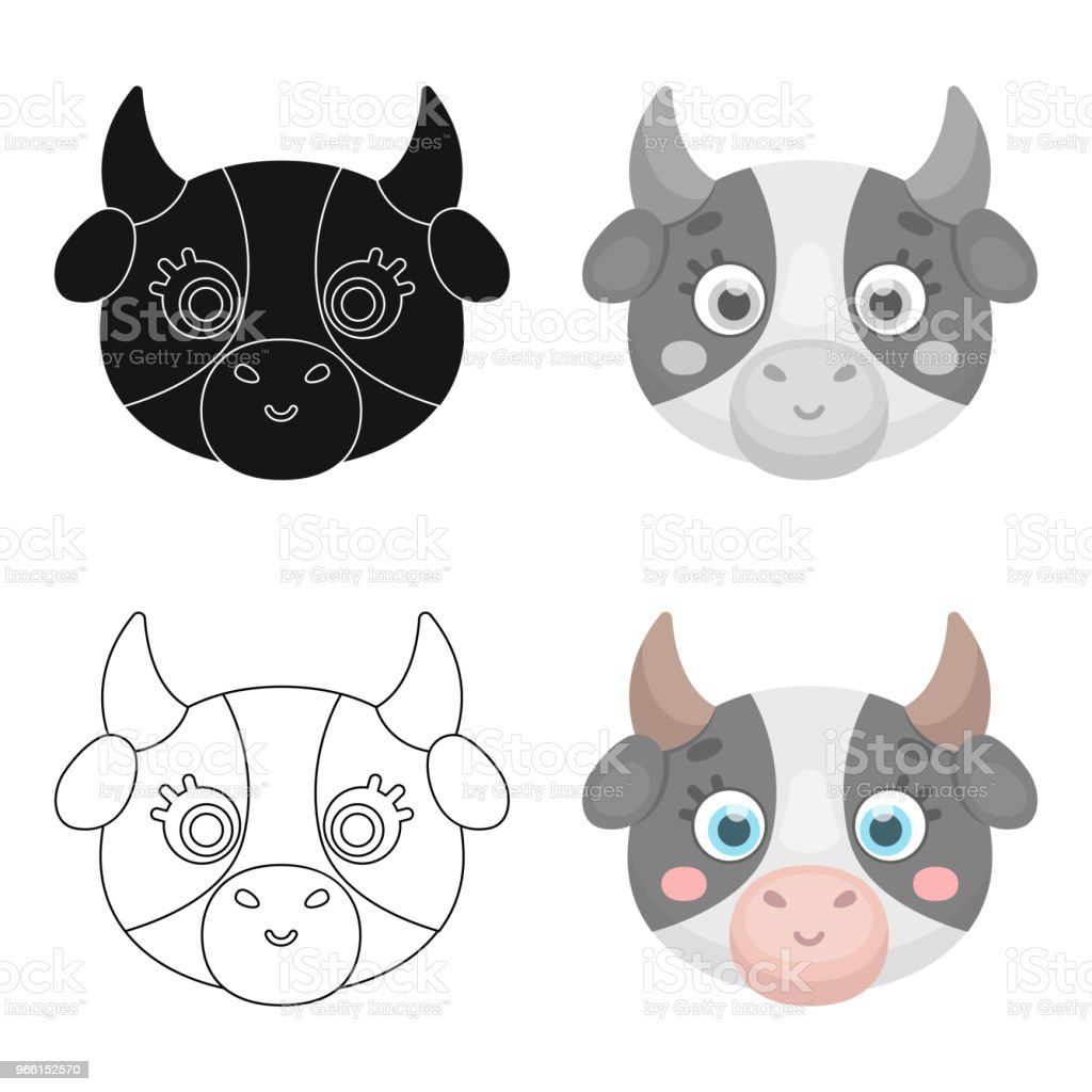 Cow muzzle icon in cartoon style isolated on white background. Animal muzzle symbol stock vector web illustration. - Royalty-free Agriculture stock vector