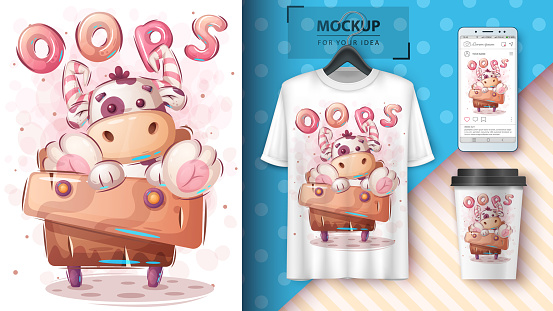 Cow on the cupboard - poster and merchandising