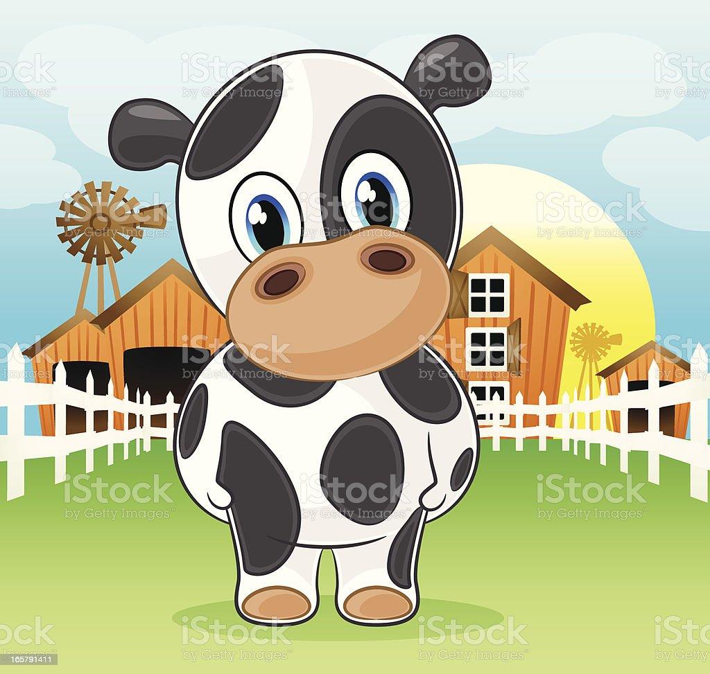 Cow on the farm vector art illustration