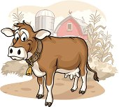 Vector Illustration of a happy brown dairy cow on the farm. File saved on layers for easy editing.
