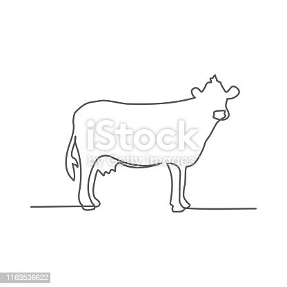 Cow One line drawing on white background