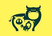 vector illustration of cow pig chicken symbol