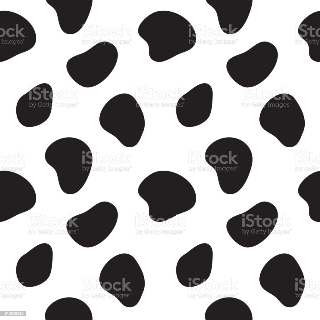 Cow Seamless Pattern Black And White Cow Spots Vector Stock Vector