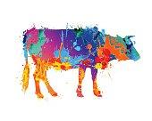 cow silhouette of vector watercolor splash paint