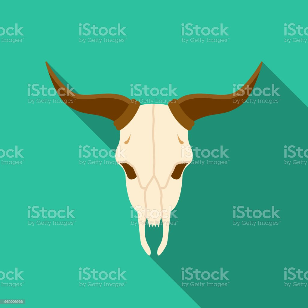 Cow Skull Flat Design Western Icon vector art illustration