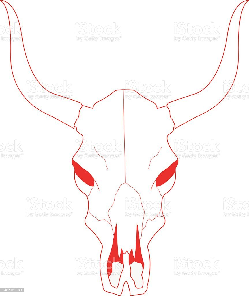 Cow Skull With Horns Contour Stock Vector Art More Images Of 2015