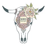 Cow Skull with ornament and peonies isolated on white background