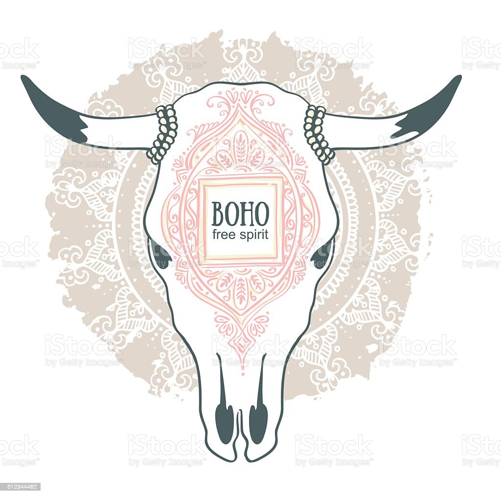 cow skull with ornament isolated on mandala background stock