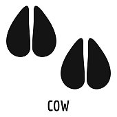 Cow step icon, simple style.