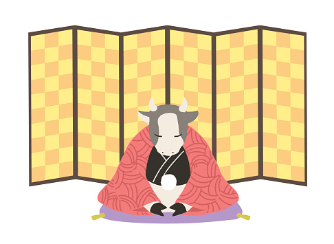 Cow to thank (no line) gold folding screen