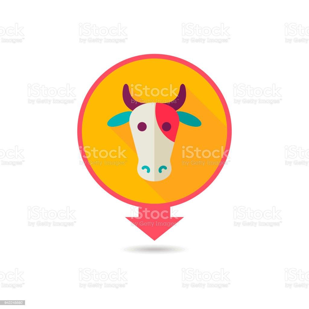 Ilustración de Vaca Vector Mapa Icono Cabeza De Animal y más banco ...