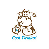 a cute cow cartton hold a drinks. vector illustration for symbol's product.