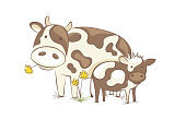 Funny vector illustration, farm animals in the meadow