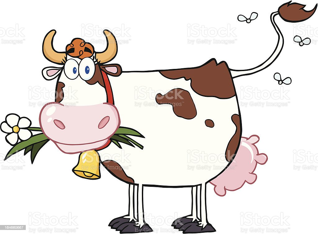 Cow with Flies royalty-free stock vector art