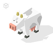Set of Isolated Isometric Minimal City Elements on White Background