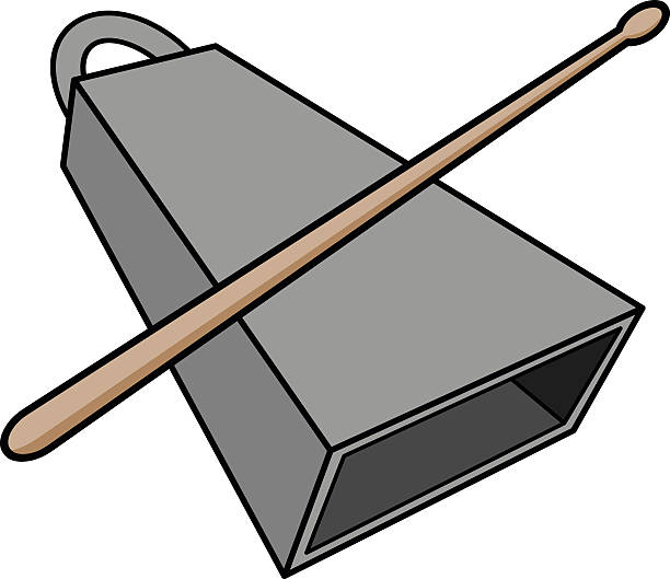 Cowbell And Drumstick Vector Art Illustration
