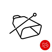 Cowbell icon. Simple linear style cow bell with stick symbol.