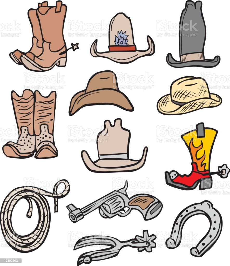 Cowboy Accessories Bonus Pack royalty-free cowboy accessories bonus pack stock vector art & more images of art product
