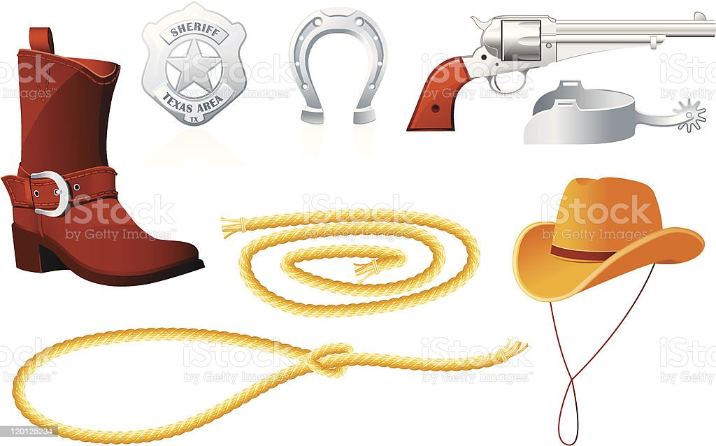 Cowboy Accessories royalty-free cowboy accessories stock vector art & more images of american culture