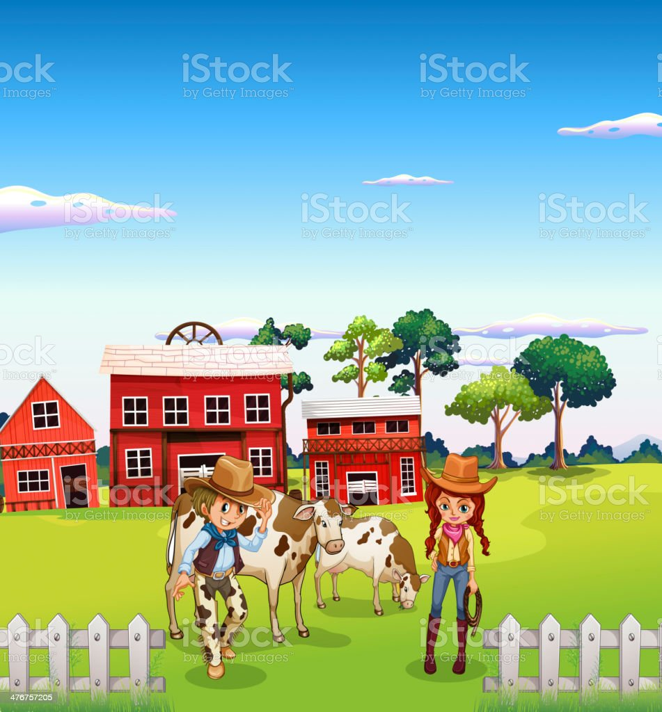 Cowboy and a cowgirl at the farm royalty-free stock vector art