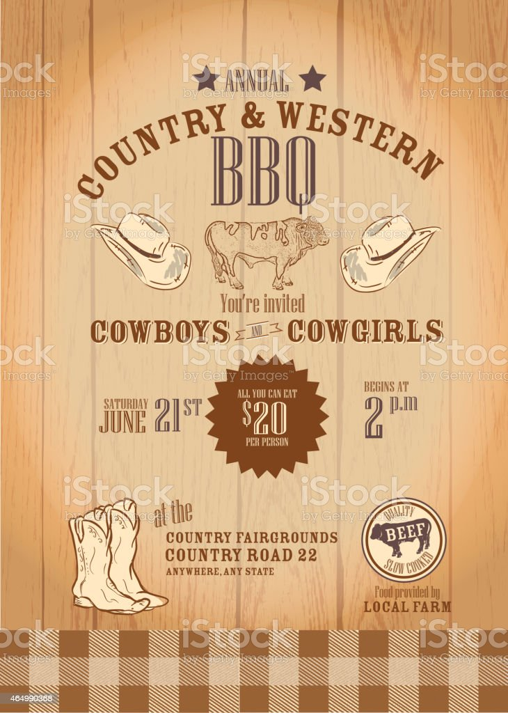 Cowboy and cowgirl BBQ invitation design template vector art illustration