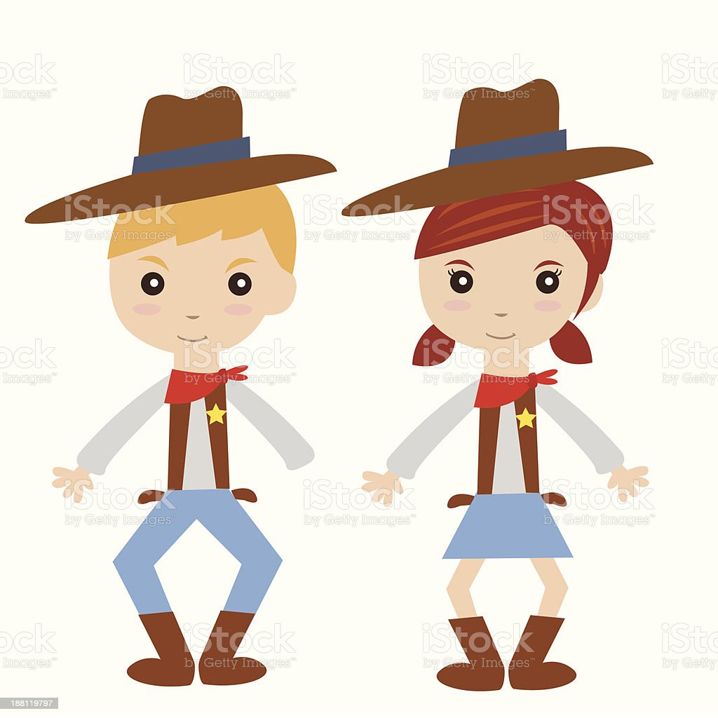 Cowboy and cowgirl costume royalty-free stock vector art