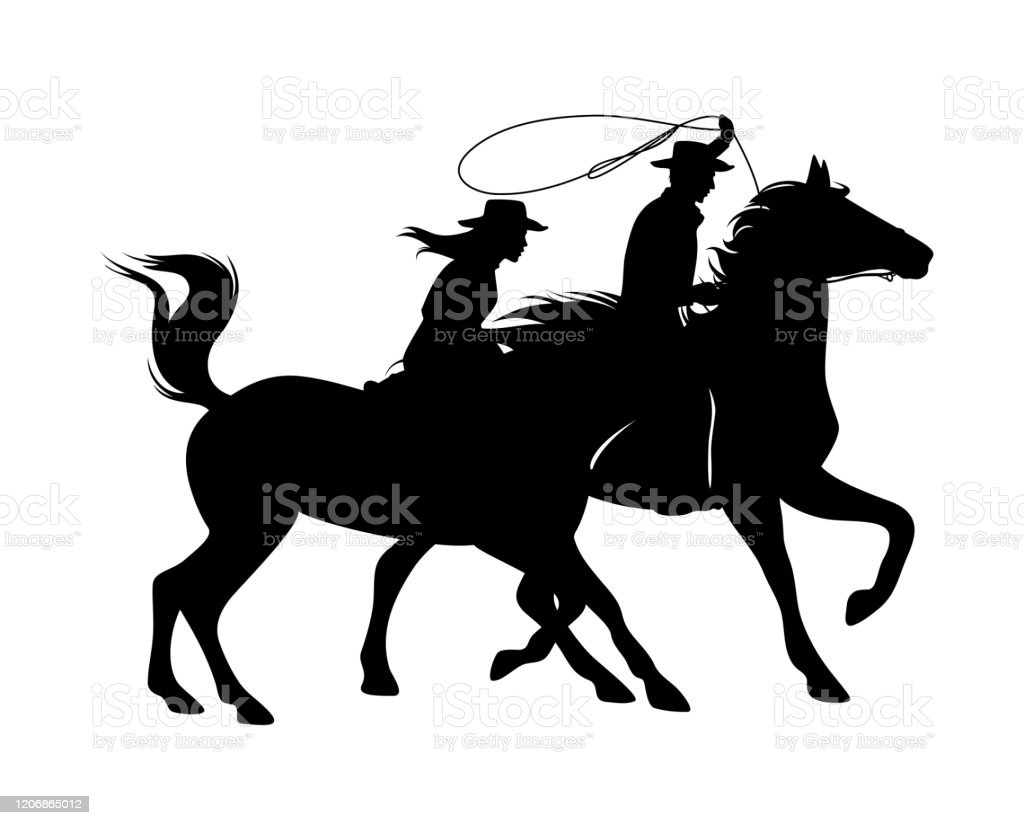 Cowboy And Cowgirl Horse Riders Black Vector Silhouette Outline Stock Illustration Download Image Now Istock