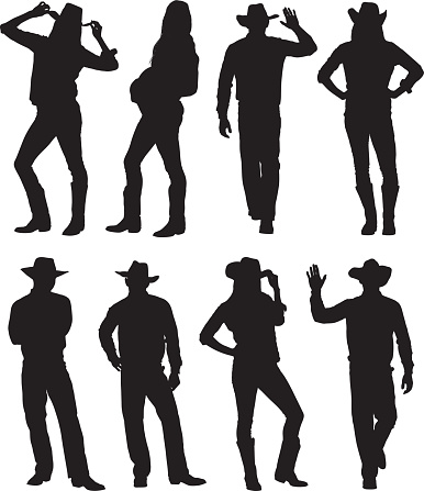 Cowboy and cowgirl in various actions