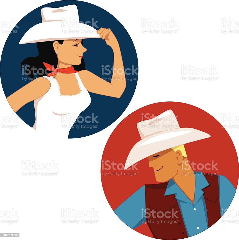 Cowboy and cowgirl vector art illustration