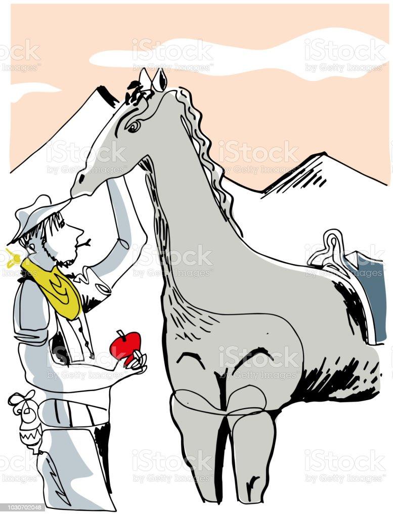 Kovboy ve atı. vektör sanat illüstrasyonu