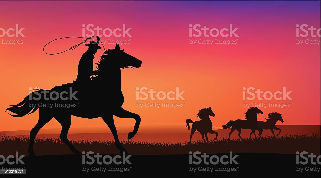cowboy and horses vector art illustration